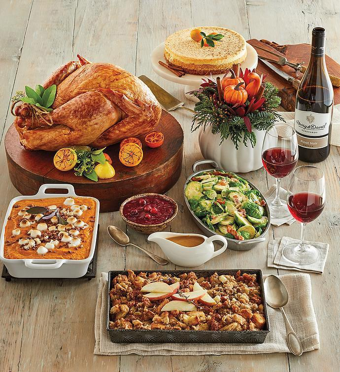 <p>Get a gourmet Thanksgiving meal that tastes homemade delivered right to your doorstep. The pre-cooked, ready-to-heat Turkey Feast offers delectable side dishes like creamy brussels sprouts with bacon, apple sausage stuffing, and brown sugar sweet potatoes, and is complete with a gorgeous pumpkin centerpiece for the table. </p>