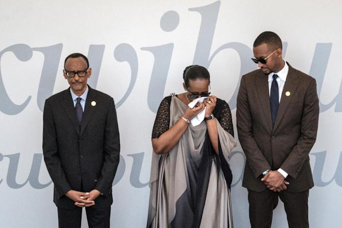 President Paul Kagame, with his wife Jeanette and son Ivan, at the ceremony (AFP Photo/Yasuyoshi CHIBA)