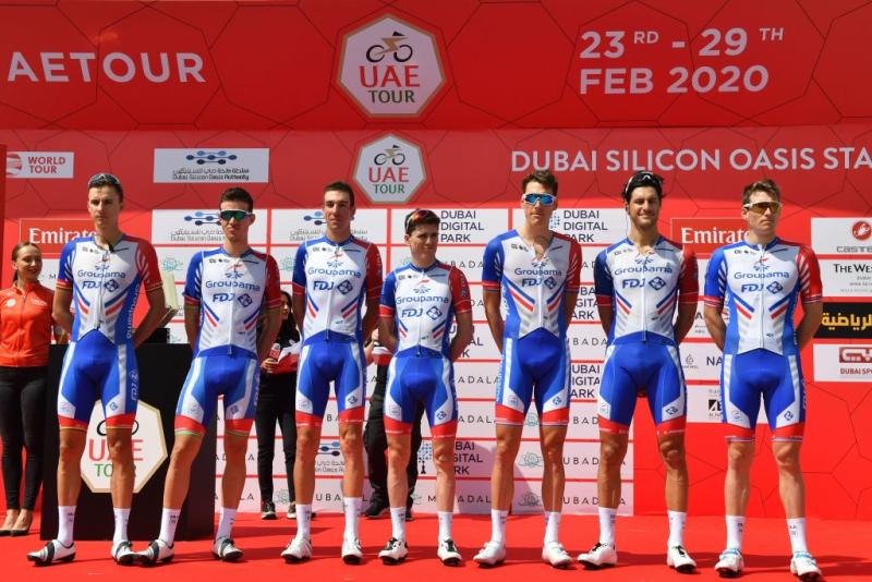 Groupama-FDJ line up ahead of the start of the 2020 UAE Tour in February