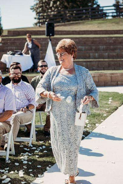 PHOTO: Joyce Raby walks down the aisle at her grandson's wedding in Tennessee. (Natalie Caho Photography)
