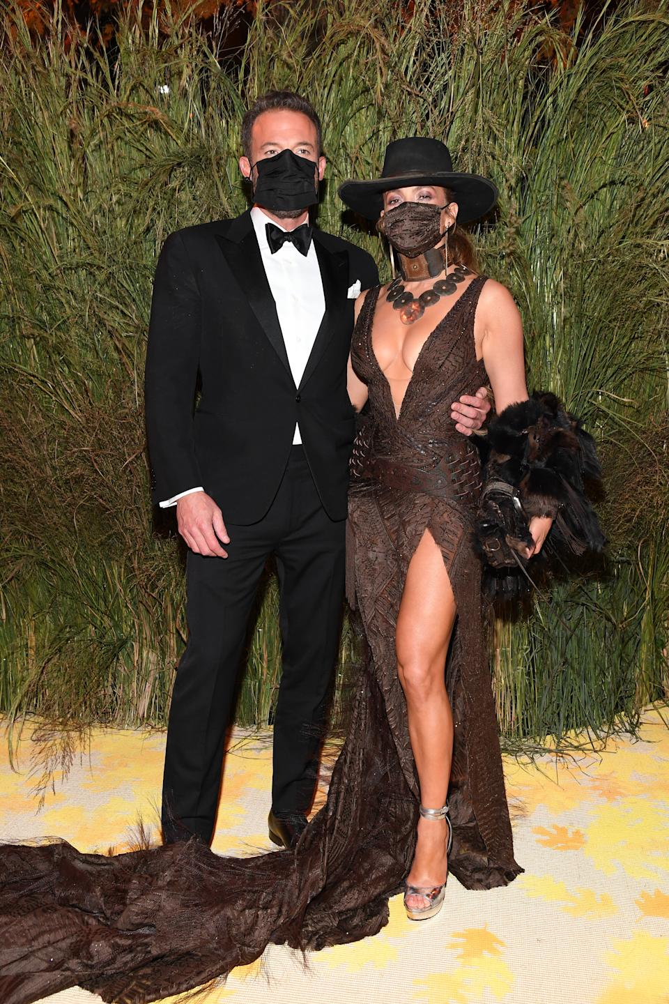 Ben Affleck and Jennifer Lopez attend The 2021 Met Gala Celebrating In America: A Lexicon Of Fashion at Metropolitan Museum of Art on September 13, 2021 in New York City. (Photo by Kevin Mazur/MG21/Getty Images for The Met Museum/Vogue )