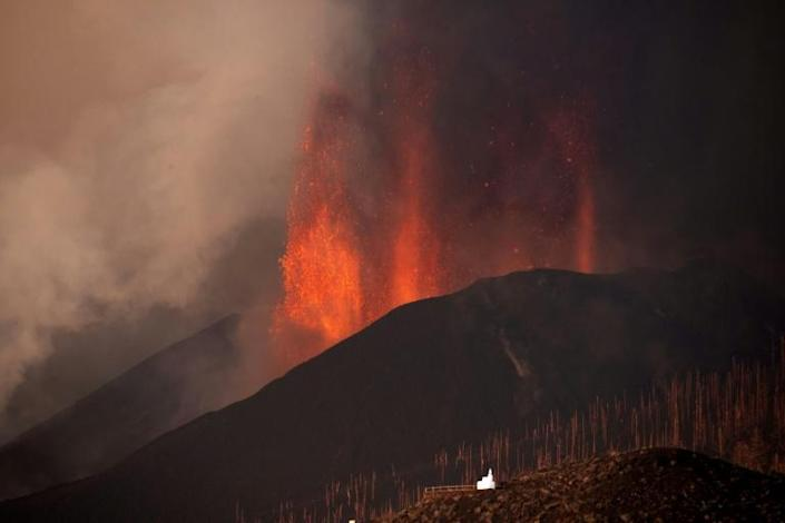 The eruption has forced the evacuation of more than 6,000 people from their homes but has not killed or injured anyone so far (AFP/DESIREE MARTIN)