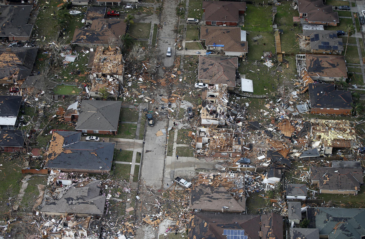 <p>Destroyed and damaged homes are seen in this aerial photo after a tornado tore through an eastern neighborhood in New Orleans, Feb. 7, 2017. (Photo: Gerald Herbert/AP) </p>