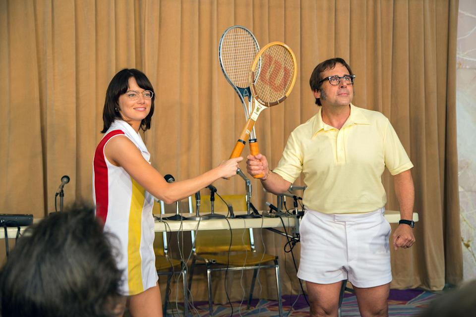 Emma Stone and Steve Carrell as Billie Jean King and Bobby Riggs in 2017's Battle of the Sexes.