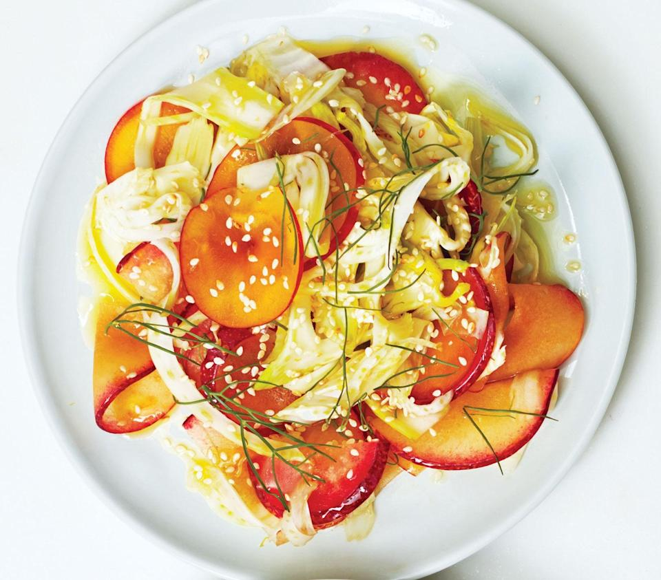 """Slightly underripe plums? Add a touch more honey. <a href=""""https://www.bonappetit.com/recipe/plum-fennel-salad-with-honey-ginger-dressing?mbid=synd_yahoo_rss"""" rel=""""nofollow noopener"""" target=""""_blank"""" data-ylk=""""slk:See recipe."""" class=""""link rapid-noclick-resp"""">See recipe.</a>"""