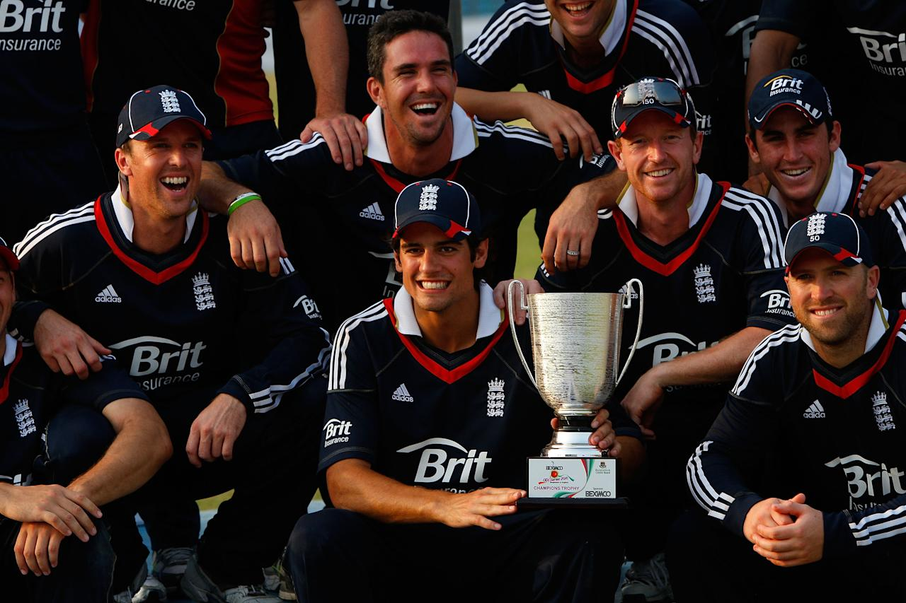 CHITTAGONG, BANGLADESH - MARCH 05:  England captain Alastair Cook and the England team celebrate their 3-0 series win after the 3rd ODI between Bangladesh and England at Jahur Ahmed Chowdhury Stadium on March 5, 2010 in Chittagong, Bangladesh.  (Photo by Stu Forster/Getty Images)