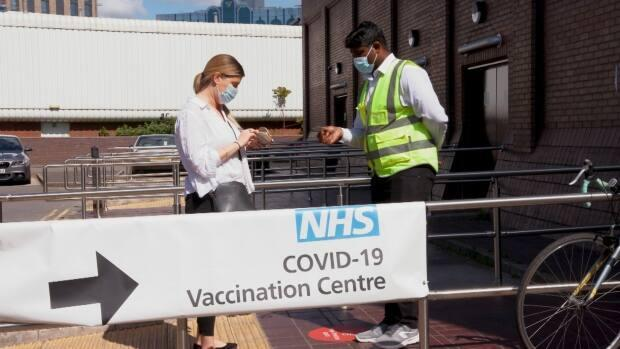 The delta variant is now the dominant strain of the coronavirus in the U.K. and to fight it, communities with outbreaks have launched mass testing and surge vaccination campaigns. As of June, more than 75 per cent of adults in the U.K. have received their first jab. (Fernando Moreno/CBC - image credit)