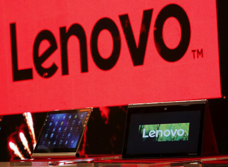 FILE PHOTO: A Lenovo ultrabook and a tablet are displayed during a news conference in Hong Kong