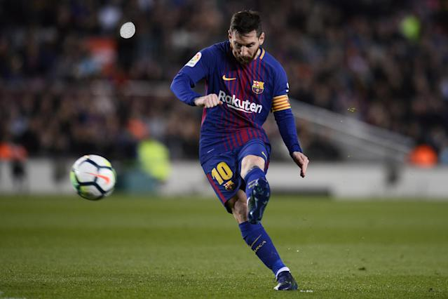 Barcelona's Argentinian forward Lionel Messi kicks the ball during the Spanish league football match between Barcelona and Leganes at the Camp Nou stadium in Barcelona on April 7, 2018.