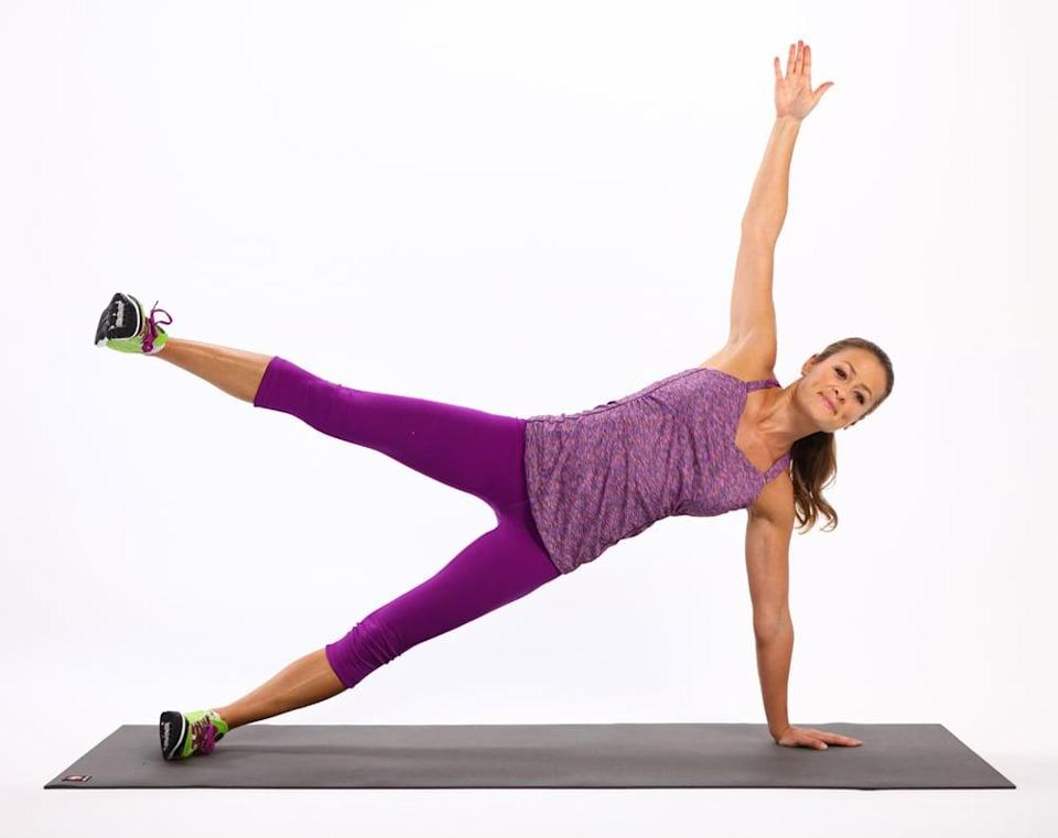 <ul> <li>Come into a side plank on your left side with your left hand underneath your right shoulder. If this bothers your wrist, rest on your elbow instead. Flex both feet, balancing on the outside edge of your left foot, and lift your right arm straight in the air, stacking your shoulders. </li> <li>Keeping your spine lengthened and your abs engaged, lift your left leg up as high as you can without letting your waist sink down toward the ground. </li> </ul>