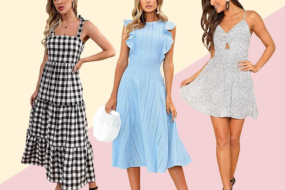 Amazon summer dresses in blue, black, and white