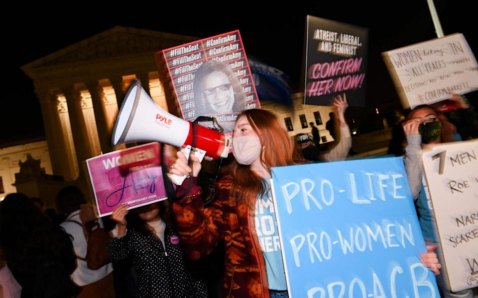 Anti-abortion activists celebrated outside the White House - GETTY IMAGES