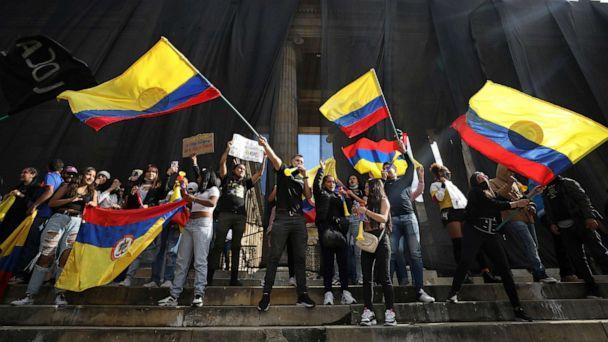 PHOTO: Demonstrators attend an anti-government protest on the steps of the Congress building in Plaza Bolivar in Bogota, Colombia, May 12, 2021. (Fernando Vergara/AP)