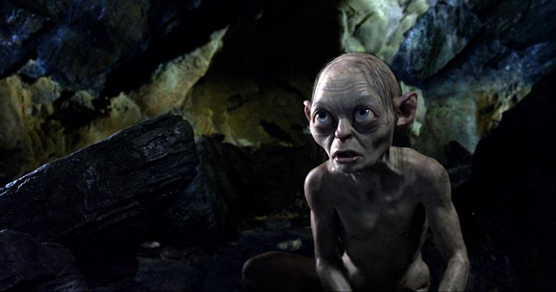 "FILE - This publicity file photo released by Warner Bros., shows the character Gollum voiced by Andy Serkis in a scene from the fantasy adventure ""The Hobbit: An Unexpected Journey."" Dolby Laboratories Inc. and director Peter Jackson's Park Road Post Production announced Wednesday, Oct. 24, 2012 that ""The Hobbit: An Unexpected Journey"" will be mixed and released in Dolby Atmos. The first of three films in ""The Hobbit"" series is slated to be released Dec. 14, 2012. (AP Photo/Warner Bros., File)"