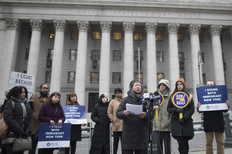 FILE - In this Nov. 27, 2018, file photo, Elizabeth OuYang, coordinator of New York Counts 2020, speaks during a news conference outside the Thurgood Marshall United States Courthouse. Several lawsuits across the country have been filed challenging the citizenship question on the 2020 census. As the U.S. Supreme Court weighs whether the Trump administration can ask people if they are citizens on the upcoming Census, the Census Bureau is quietly seeking comprehensive information about the legal status of millions of immigrants. (AP Photo/Mary Altaffer, File)