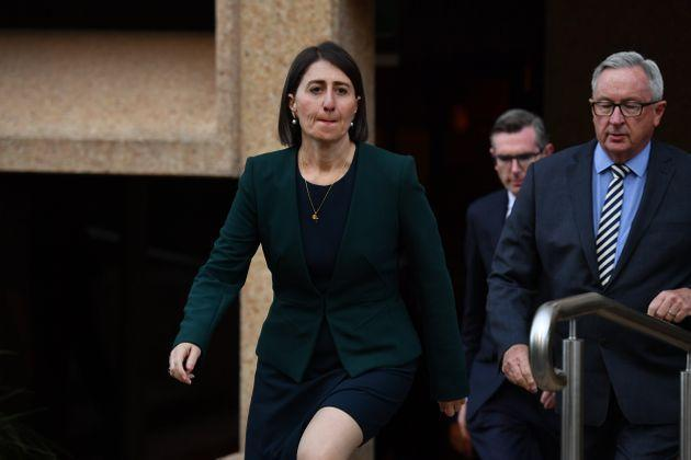 NSW Premier Gladys Berejiklian during a press conference at NSW Parliament House after giving evidence at the NSW Independent Commission Against Corruption on October 12, 2020 in Sydney, Australia.