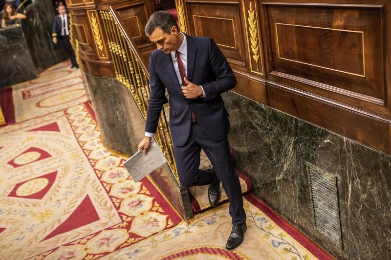Spain's caretaker Prime Minister Pedro Sánchez during the parliamentary debate at the Spanish parliament in Madrid, Spain, Monday, July 22, 2019. Sánchez will seek the endorsement of the Spanish Parliament on Monday ahead of this week's confidence votes for him to form a new government. (AP Photo/Bernat Armangue)