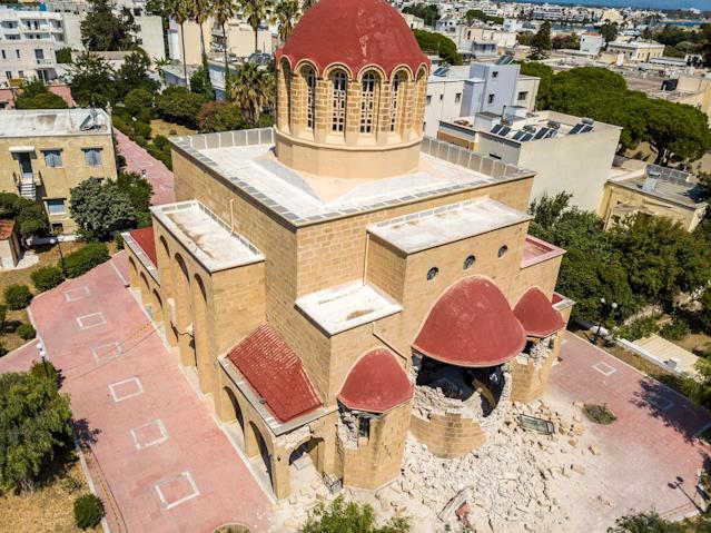 <p>Damage is seen at a Greek Orthodox church after an earthquake on the island of Kos, Greece Friday, July 21, 2017. (Photo: Nikiforos Pittaras/AP) </p>