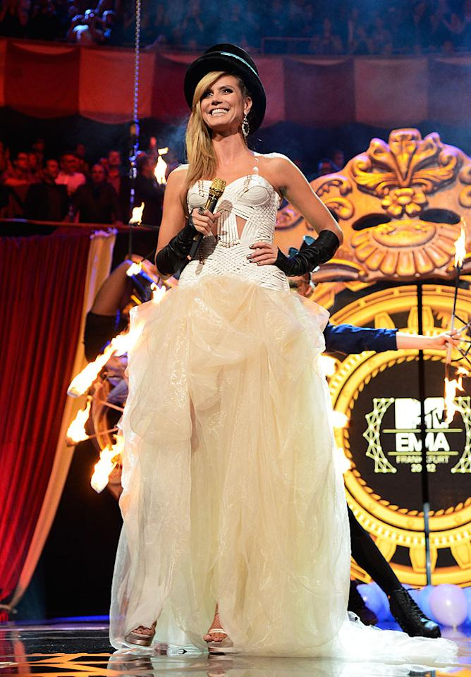 FRANKFURT AM MAIN, GERMANY - NOVEMBER 11:  Heidi Klum hosts at the MTV EMA's 2012 at Festhalle Frankfurt on November 11, 2012 in Frankfurt am Main, Germany.  (Photo by Kevin Mazur/WireImage)
