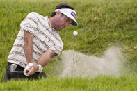 Bubba Watson plays a shot from a bunker on the ninth hole during the second round of the U.S. Open Golf Championship, Friday, June 18, 2021, at Torrey Pines Golf Course in San Diego. (AP Photo/Jae C. Hong)