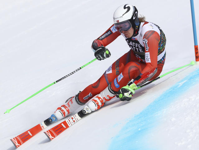 Norway's Henrik Kristoffersen competes during a men's giant slalom at the alpine ski World Cup finals in Are, Sweden, Saturday, March 17, 2018. (AP Photo/Alessandro Trovati)