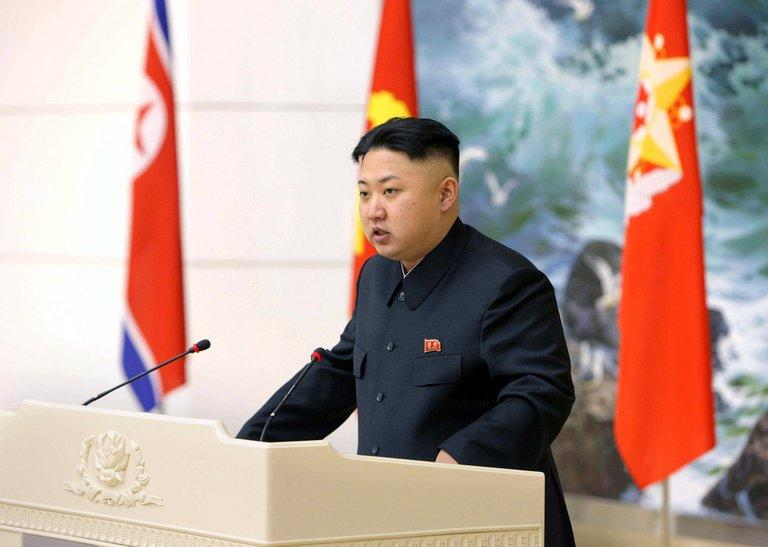 North Korean leader Kim Jong-Un delivers a speech during a banquet in Pyongyang, on December 21, 2012