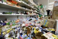 Scattered goods caused by an earthquake are seen at a supermarket in Tsuruoka, Yamagata prefecture, Japan