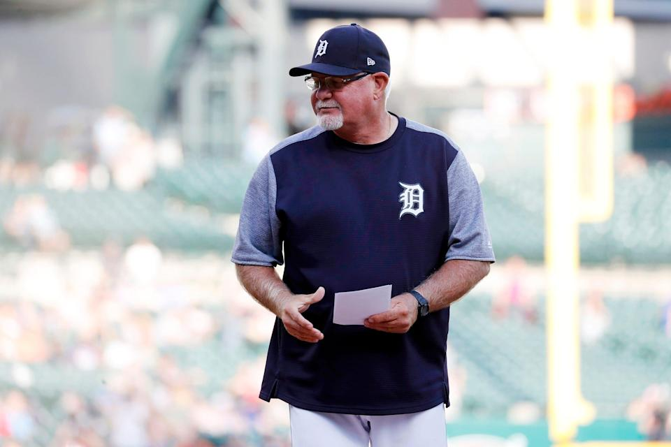 Detroit Tigers manager Ron Gardenhire presents the lineup before the game against the Kansas City Royals at Comerica Park on Thursday, Aug. 8, 2019, in Detroit.