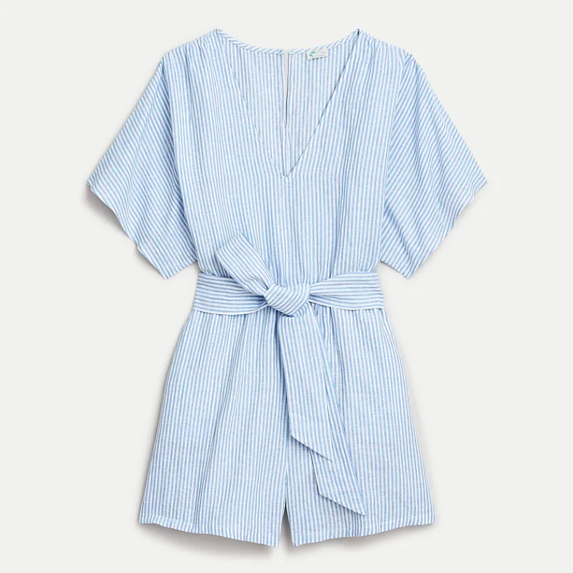 Cotton-linen beach romper in stripe. Image via J.Crew.
