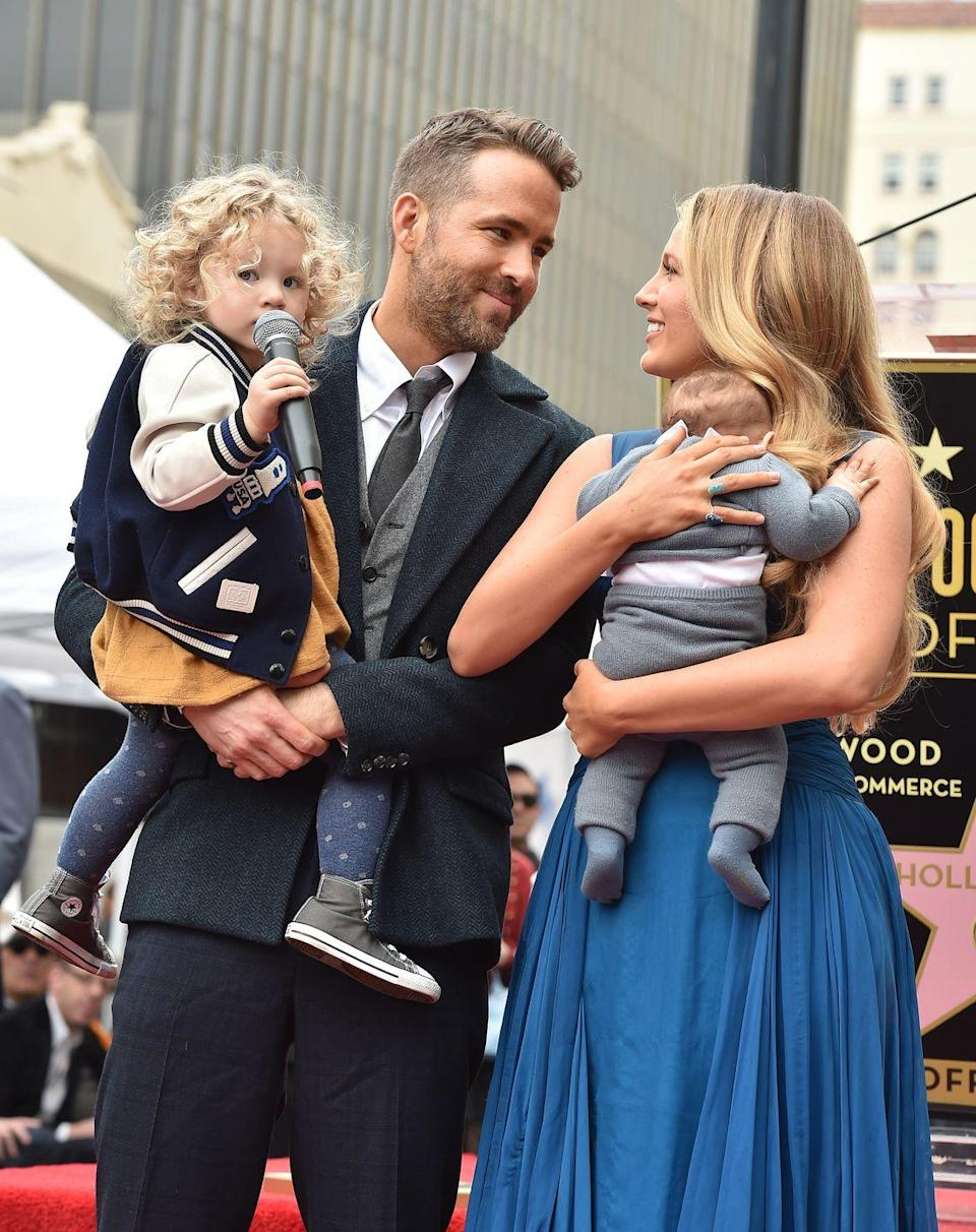 """<p><strong>Children</strong>: James Reynolds (5), Inez Reynolds (3), and a baby girl born in 2019.</p><p>We're swooning over the 43-year-old Canadian actor in full dad mode with his daughters while staring lovingly into the eyes of his <a href=""""https://www.oprahmag.com/entertainment/a28834639/blake-lively-ryan-reynolds-relationship-cutest-moments/"""" rel=""""nofollow noopener"""" target=""""_blank"""" data-ylk=""""slk:wife Blake Lively"""" class=""""link rapid-noclick-resp"""">wife Blake Lively</a>, who gave <a href=""""https://www.oprahmag.com/entertainment/a27350198/blake-lively-ryan-reynolds-pregnant-third-child/"""" rel=""""nofollow noopener"""" target=""""_blank"""" data-ylk=""""slk:birth to their third child"""" class=""""link rapid-noclick-resp"""">birth to their third child</a> in 2019. Of course, it helps that Reynolds is full of <a href=""""https://twitter.com/VancityReynolds/status/789149491773538305?s=20"""" rel=""""nofollow noopener"""" target=""""_blank"""" data-ylk=""""slk:witty dad jokes"""" class=""""link rapid-noclick-resp"""">witty dad jokes</a>.</p>"""