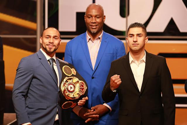 Keith Thurman (L), Lennox Lewis and Josesito López (R) attend Fox Sports and Premier Boxing Champions Press Conference Experience on Nov. 13, 2018 in Los Angeles. (Leon Bennett/Getty Images)