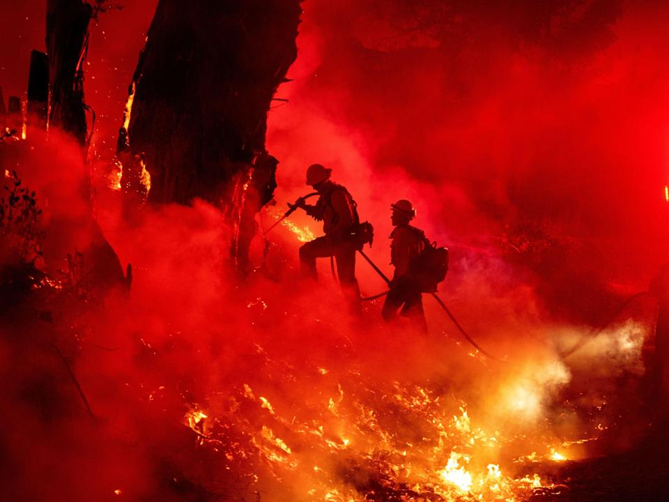 Firefighters struggle to contain flames in Santa Paula, California (AFP/Getty)