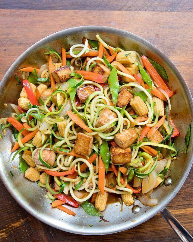 """<p>Air fried zoodles?! Yes, really — it makes noodles crispier, as well as crisping up your tofu in a flash.</p><p><a href=""""https://bluejeanchef.com/recipes/stir-fried-zoodles/"""" rel=""""nofollow noopener"""" target=""""_blank"""" data-ylk=""""slk:Get the recipe from Blue Jean Chef »"""" class=""""link rapid-noclick-resp""""><em>Get the recipe from Blue Jean Chef »</em> </a></p>"""