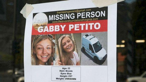 PHOTO: A Suffolk County Police Department missing person poster for Gabby Petito is posted in Jackson, Wyo., Sept. 16, 2021. (Amber Baesler/AP)