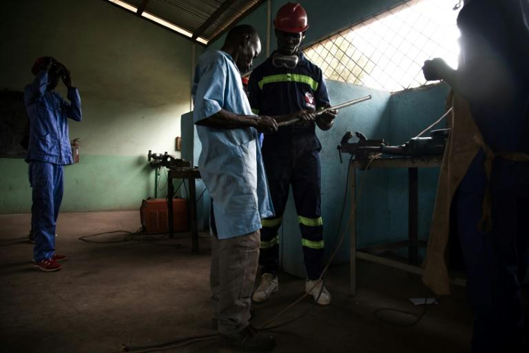A new life: Former child soldiers learn how to weld at the Don Bosco training centre in Bangui (AFP Photo/FLORENT VERGNES)
