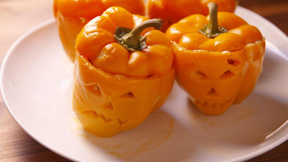 """<p>The only thing scary about trying a new recipe is not knowing where to start. <a href=""""https://www.delish.com/cooking/recipe-ideas/recipes/a49656/jack-o-lantern-stuffed-peppers-recipe/"""" rel=""""nofollow noopener"""" target=""""_blank"""" data-ylk=""""slk:This recipe helps you out with step-by-step instructions"""" class=""""link rapid-noclick-resp"""">This recipe helps you out with step-by-step instructions</a>. Jack-O'Lantern stuffed peppers are filled with beef, rice, and more, but you can use any protein or toppings you please.</p><p><a class=""""link rapid-noclick-resp"""" href=""""https://www.delish.com/holiday-recipes/halloween/g636/halloween-dinner-recipes/"""" rel=""""nofollow noopener"""" target=""""_blank"""" data-ylk=""""slk:GET HALLOWEEN DINNER RECIPES"""">GET HALLOWEEN DINNER RECIPES</a></p>"""