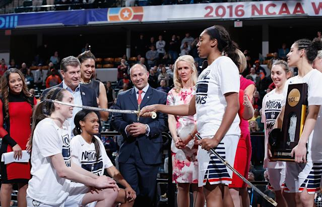 "<a class=""link rapid-noclick-resp"" href=""/wnba/players/5625/"" data-ylk=""slk:Breanna Stewart"">Breanna Stewart</a>, left, Moriah Jefferson, center, and <a class=""link rapid-noclick-resp"" href=""/wnba/players/5548/"" data-ylk=""slk:Morgan Tuck"">Morgan Tuck</a>, right, won the 2016 NCAA title and became the top three picks in the WNBA draft to lead an incredible UConn decade. (Joe Robbins/Getty Images)"