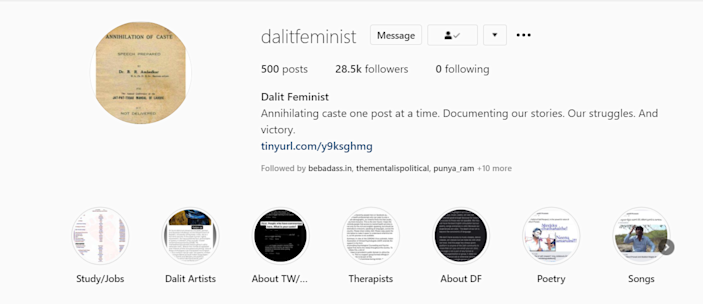 A screenshot of the Instagram page Dalit Feminist.