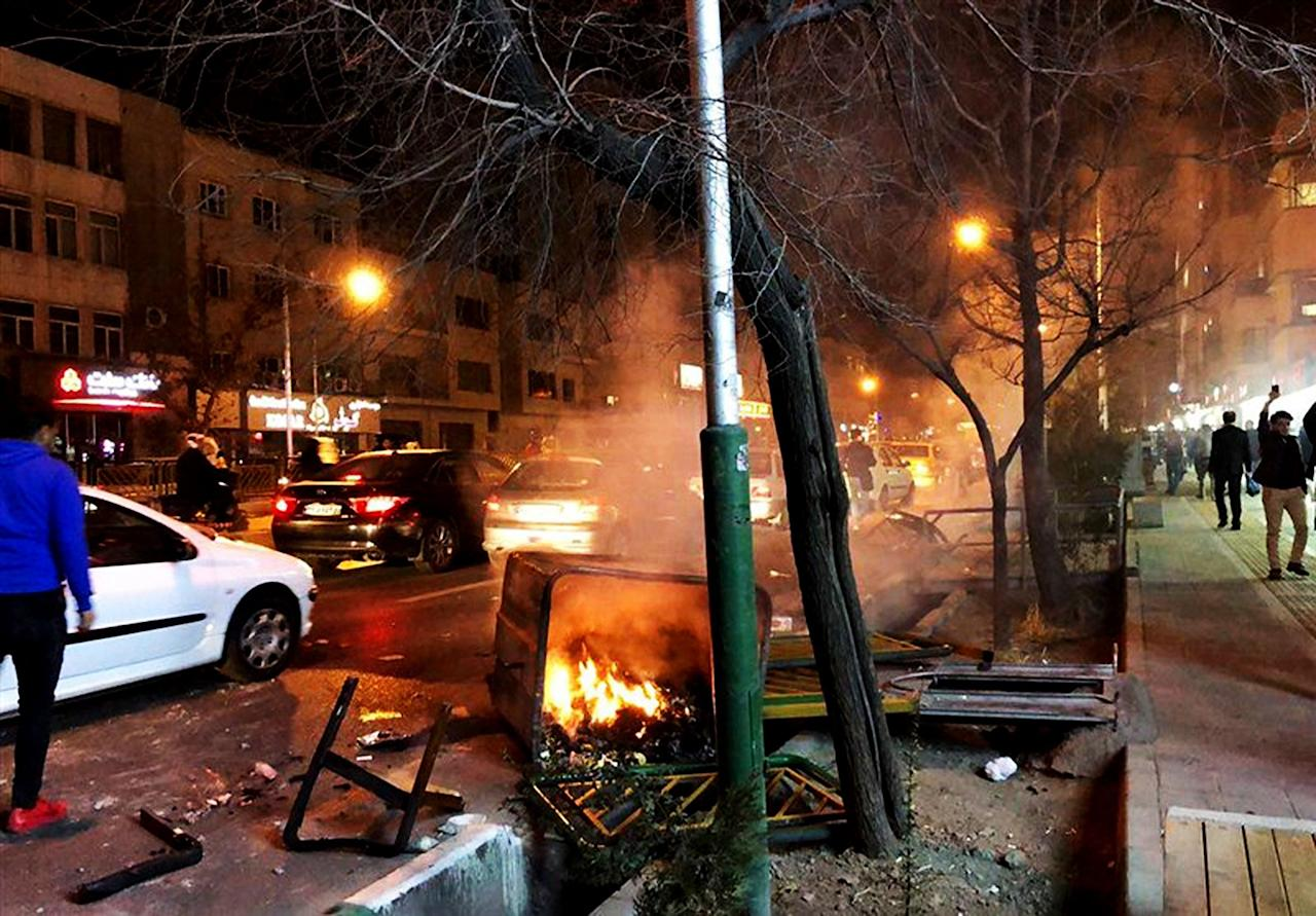 <p>Demonstration against high prices and the poor state of the economy under President Hassan Rouhani, during which an Iranian protester was shot dead by police in Dourod, Iran. Jan. 1, 2018. (Photo: AY-COLLECTION/SIPA/REX/Shutterstock) </p>