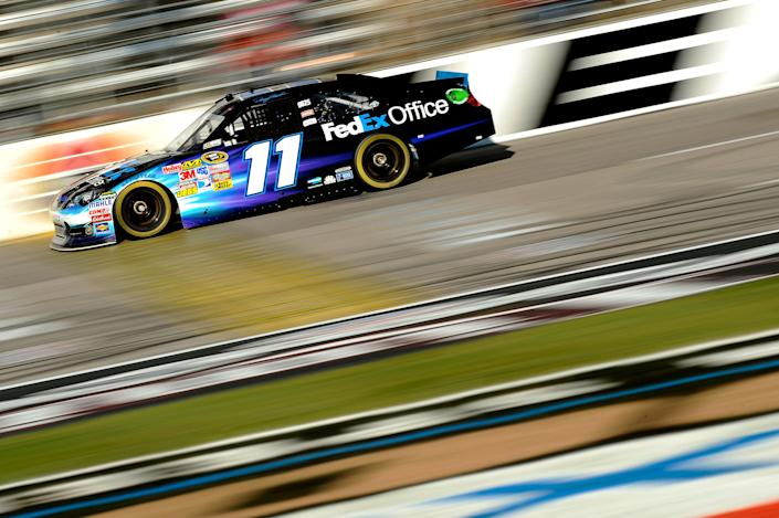 FORT WORTH, TX - NOVEMBER 05: Denny Hamlin, driver of the #11 FedEx Office Toyota, drives on track during practice for the NASCAR Sprint Cup Series AAA Texas 500 at Texas Motor Speedway on November 5, 2011 in Fort Worth, Texas. (Photo by Jared C. Tilton/Getty Images for NASCAR)