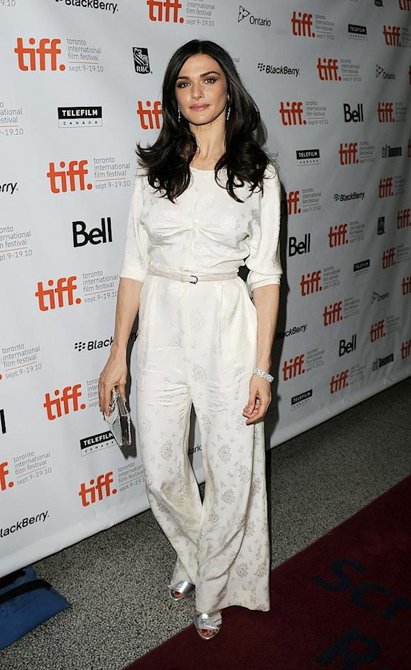 "Also rocking an eyesore of an ensemble in Toronto ... Oscar winner Rachel Weisz (""The Constant Gardener"") who attended a screening of ""The Whistleblower"" in this lousy Phillip Lim jacquard jumpsuit. Jason Merritt/<a href=""http://www.gettyimages.com/"" target=""new"">GettyImages.com</a> - September 13, 2010"