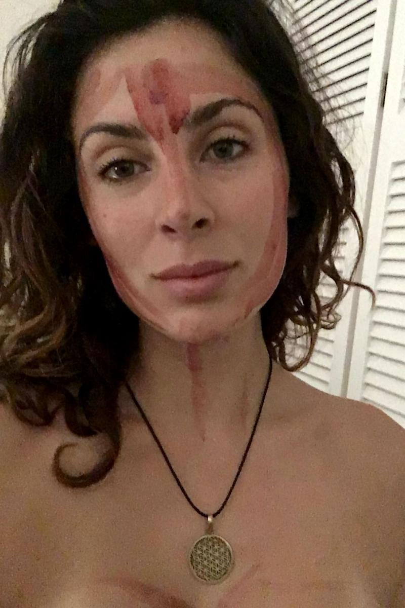 Yazmina used her period blood for a facial. Photo: Caters News