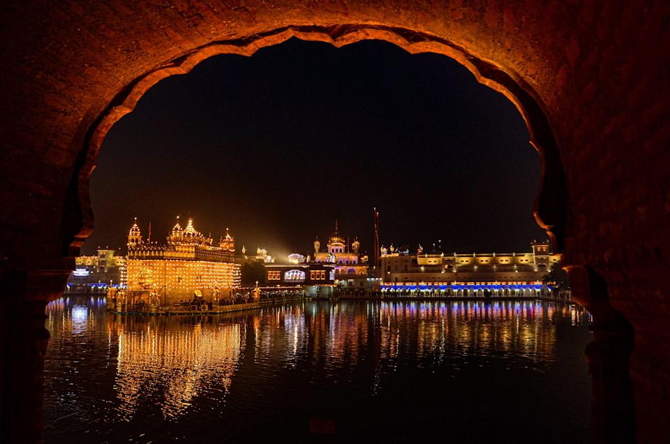 An illuminated Harmandir Sahib (Golden temple) on the eve of the 355th birth anniversary of the 10th Sikh Guru Gobind Singh Ji, in Amritsar, on Tuesday, 19 January 2021.