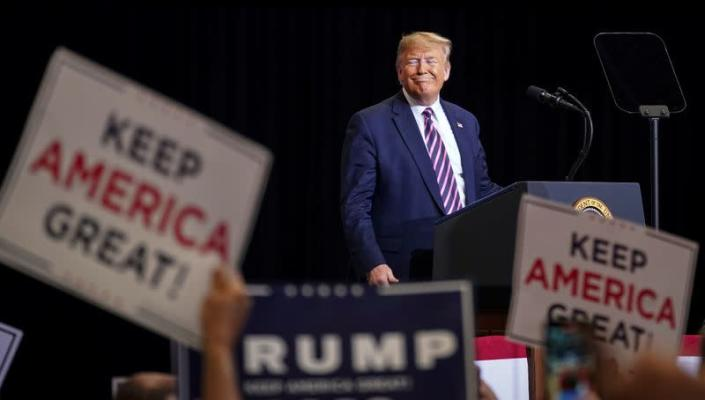 U.S. President Donald Trump speaks during a campaign rally at the Las Vegas Convention Center in Las Vegas, Nevada