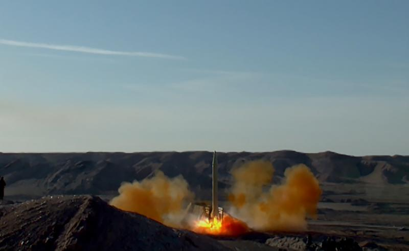 A handout picture released on March 8, 2016 by Sepah News, the online news site and public relations arm of Iran's Islamic Revolutionary Guard, shows a ballistic missile being launched during a test at an undisclosed location (AFP Photo/STRINGER)