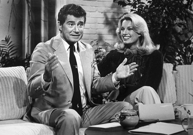 "Regis Philbin and Cyndy Garvey co-hosting the ""A.M. Los Angeles"" morning show in 1979."