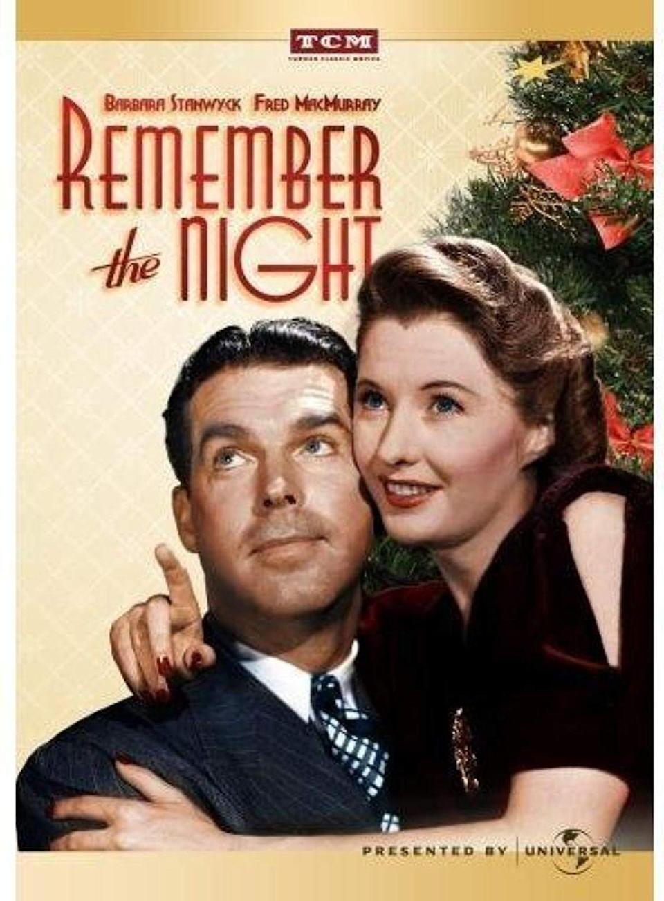 """<p>When Barbara Stanwyck's character gets arrested for shoplifting right before Christmas in this 1940 rom-com, it's up to the D.A. (played by Fred MacMurray) to help her get out of jail.</p><p><a class=""""link rapid-noclick-resp"""" href=""""https://www.amazon.com/Remember-Night-Barbara-Stanwyck/dp/B0047O2FPI/?tag=syn-yahoo-20&ascsubtag=%5Bartid%7C10055.g.1315%5Bsrc%7Cyahoo-us"""" rel=""""nofollow noopener"""" target=""""_blank"""" data-ylk=""""slk:WATCH NOW"""">WATCH NOW</a></p>"""