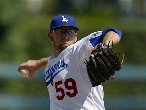 Los Angeles Dodgers starting pitcher Stephen Fife delivers during the first inning of ta baseball game against the St. Louis Cardinals, Sunday, Sept. 16, 2012, in Los Angeles. (AP Photo/Mark J. Terrill)