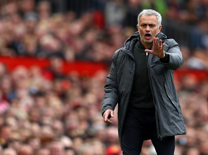 Mourinho was in a frustrated move after the lacklustre 1-1 draw: Getty