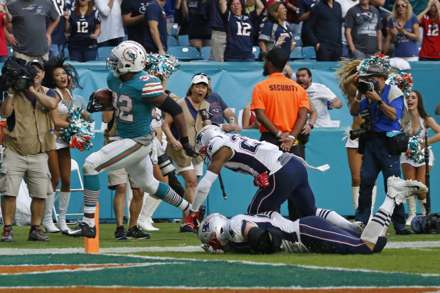 Kenyan Drake's astonishing last-second touchdown left the Patriots flat. (Getty)